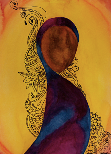 Watercolor painting woman in Sarii