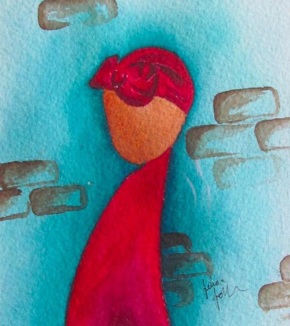 Bahia Mahinha (Brazilian Mother), Watercolor, Felicia Follum, approx 5x7,