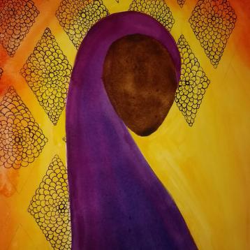 Sudanese Sister, Watercolor + Black Ink, 18x24, $550